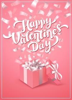 Szczęśliwych walentynek różowy tekst pozdrowienia ilustracja