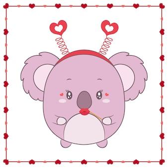 Szczęśliwych walentynek słodkie zwierzę koala dla dzieci rysunek z ramą serca