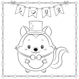 Szczęśliwych walentynek słodkie zwierzę wiewiórka dziecko rysunek szkic do kolorowania z ramą serca i banerem miłości