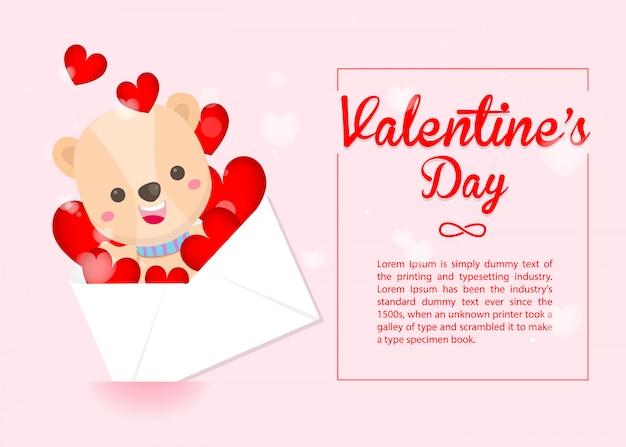 Szczęśliwych walentynek szablon słodki miś i koperta serca na różowo