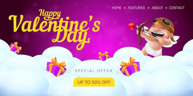Szczęśliwych walentynek szablon strony docelowej oferty specjalnej lub baner sprzedaży reklamowej.