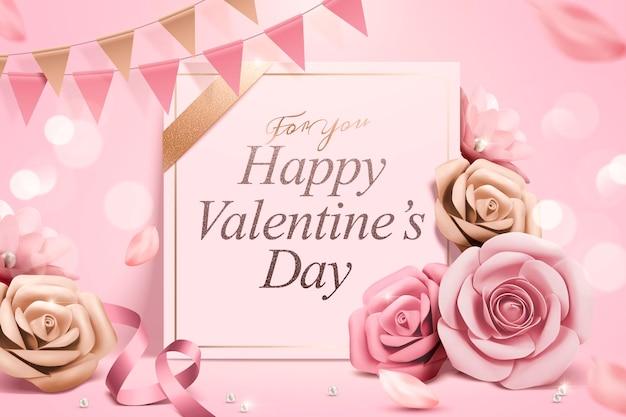 Szczęśliwych walentynek szablon z papierowymi różami i wstążkami
