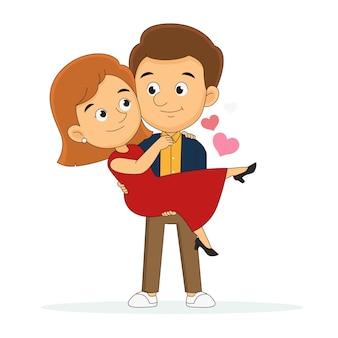Szczęśliwych walentynek, szczęśliwy młody człowiek trzyma piękną kobietę
