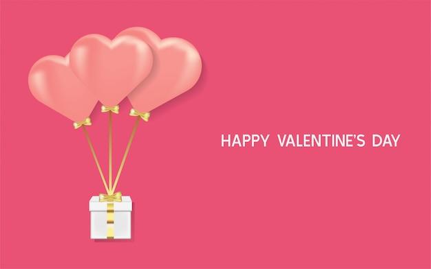 Szczęśliwych walentynek tło. realistyczne serce 3d z ilustracją pudełka w kształcie miłości.