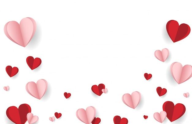 Szczęśliwych walentynek tło z kreatywną kompozycją miłości serc