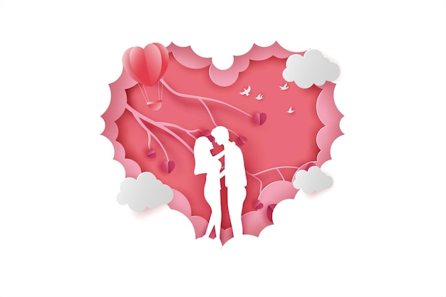 Szczęśliwych walentynek transparent z miłością pary i stylem cięcia papieru drzewa