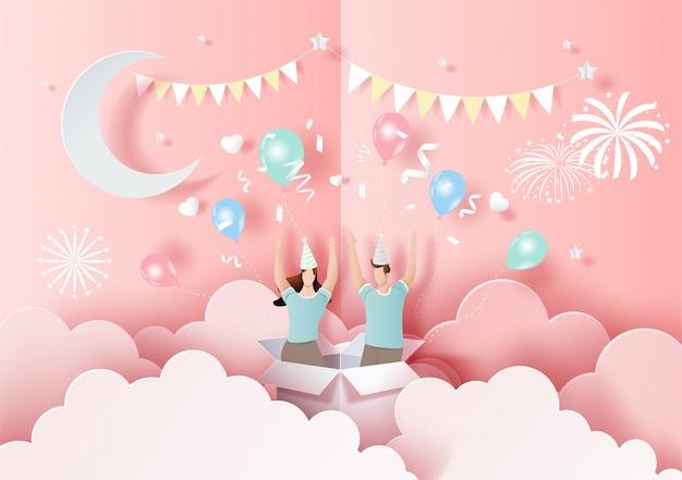 Szczęśliwych walentynek, wyskakująca karta, urocza para zakochanych podniosła ręce i baw się dobrze na imprezie.