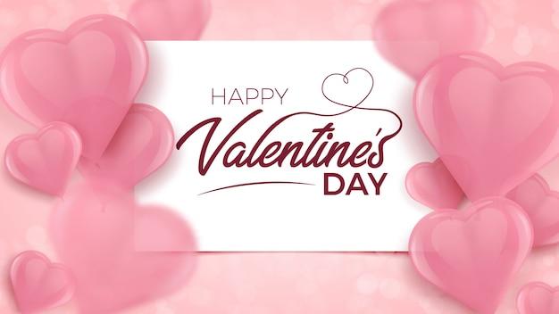 Szczęśliwych walentynek z białą ramką i różowe niewyraźne 3d balony w kształcie serca.