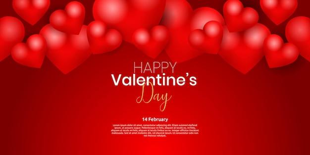Szczęśliwych Walentynek Z Czerwonym Sercem. Premium Wektorów