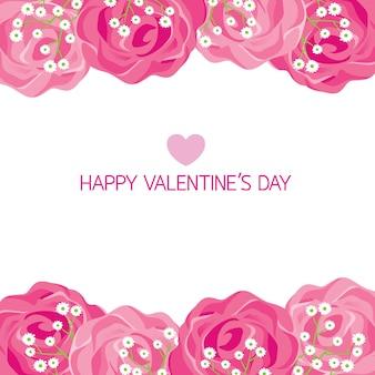 Szczęśliwych walentynek z różaną ramką, miłością, ślubem, zaręczynami, związkiem, ukochaną