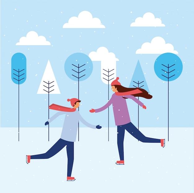 Szczęśliwych zimowych wakacji ludzi