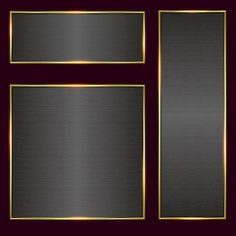 Szczotkowany metalowy baner w złotej ramie