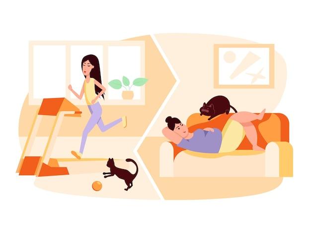 Szczupła kobieta biegającagruba kobieta leżąca na kanapie otyłość zdrowy i niezdrowy styl życia