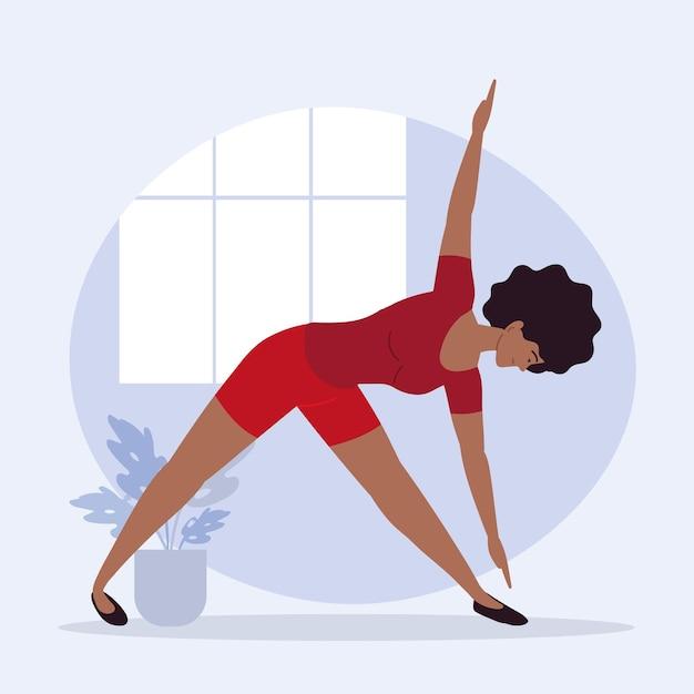 Szczupła kobieta ćwicząca jogę