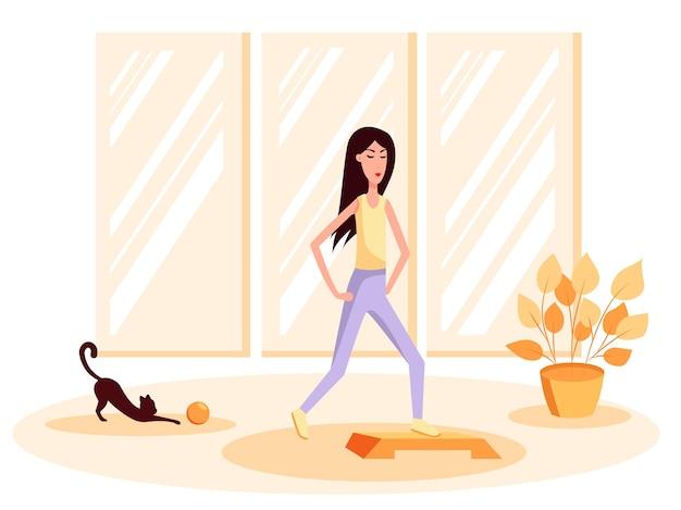 Szczupła kobieta z kotem robi gimnastykę, obok niej kot bawi się piłką. ilustracja kreskówka płaski kolor wektor. zdrowy tryb życia