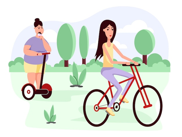 Szczupłe i grube kobiety jeżdżą na hulajnodze i rowerze otyłość zdrowy i niezdrowy styl życia