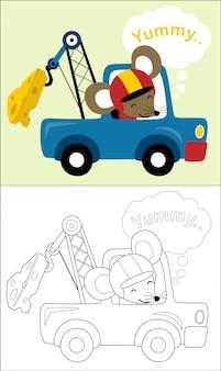 Szczur kreskówka na holowniczej ciężarówce holuje ogromnego ser