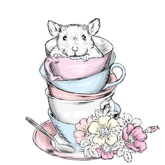 Szczur siedzi w stosie rocznika filiżanki z kwiatami.