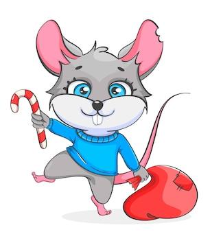 Szczur trzyma worek z prezentami i trzciny cukrowej