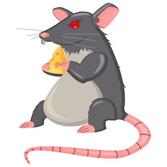 Szczur z serem kreskówka