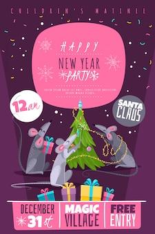 Szczur zwierząt symbol nowy rok znaków postacie plakat