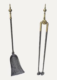 Szczypce i łopata vintage ilustracji wektorowych, zremiksowane z dzieła autorstwa hansa korsch