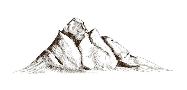 Szczyt górski, szczyt lub szczyt ręcznie rysowane liniami konturów na białym tle