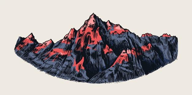 Szczyty górskie, rock vintage, pasmo starych wyżyn. chamonix-mont-blanc. ręcznie rysowane wektor alpy szkic w stylu grawerowanym.