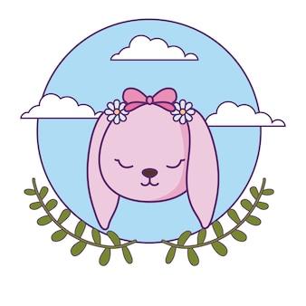 Szef cute little bunny baby z liśćmi korony