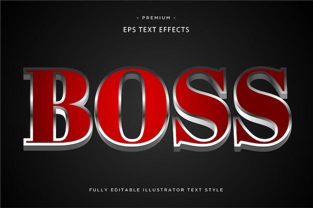 Szef czerwony efekt tekstowy 3d styl tekstu