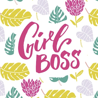 Szef dziewczyna. slogan feminizmu, napis pędzla na projekt koszulki i odzieży, różowy tekst na tle liści i kwiatów.