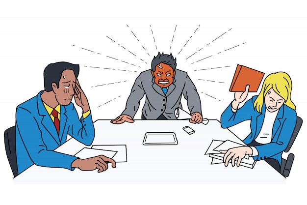 Szef gniewu przy stole spotkań