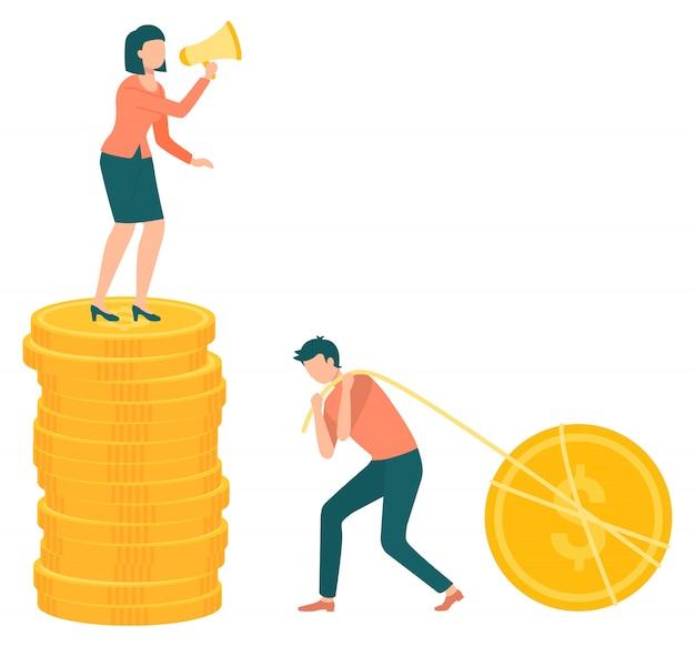 Szef i pracownik kobieta z pieniędzmi monety megafon