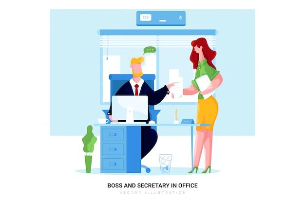 Szef i sekretarz w biurze