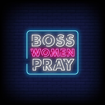 Szef kobiety modlą się tekst w stylu neonowych znaków