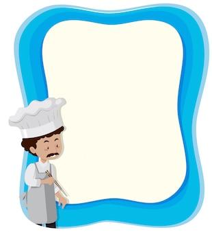 Szef kuchni anf niebieskie tło