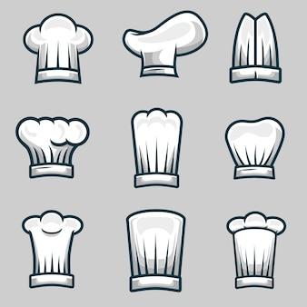 Szef kuchni czapki obiekt ilustracja wektor zestaw
