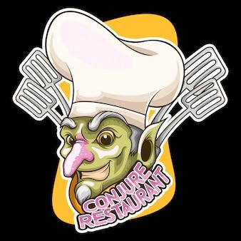 Szef kuchni czarownik kreskówka wektor ilustracja logo