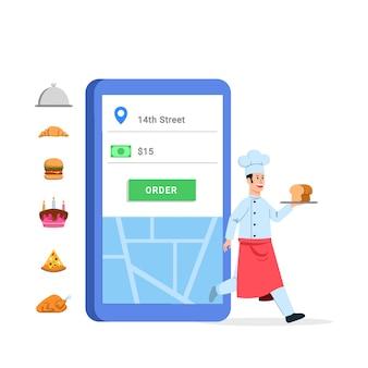 Szef kuchni dostarcza jedzenie przechodzące przez aplikację handlu elektronicznego