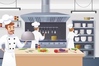 Szef kuchni gospodarstwa gotowe danie w ręku