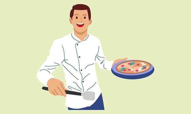 Szef kuchni gotuje i trzyma tacę z pizzą