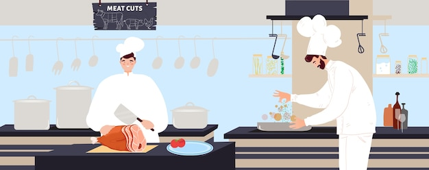 Szef kuchni gotuje ilustracja mięsa.