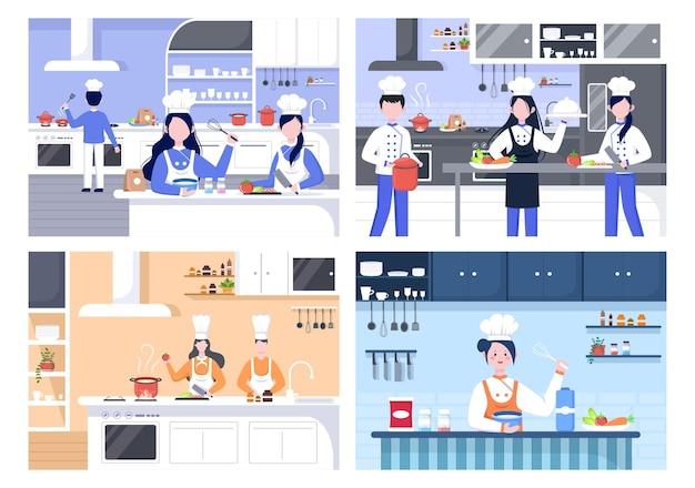 Szef kuchni gotuje w kuchni z tacą, składnikami lub różnymi posiłkami. meble i naczynia do wnętrz w tle ilustracja do strony docelowej
