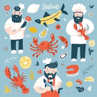 Szef kuchni kreskówki trzymający smażonego homara i stek z łososia kolorowa ilustracja z owocami morza ...