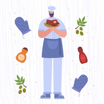Szef kuchni. kucharz trzyma danie z krewetek.