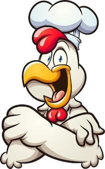 Szef kuchni kurczaka z koncepcją ilustracji szczęśliwą twarz
