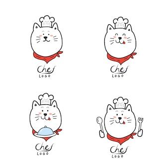 Szef kuchni logo. kreskówki ręki remis. śliczna kot maskotka