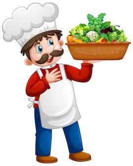 Szef kuchni mężczyzna trzyma postać z kreskówki wiadro warzyw na białym tle