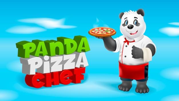 Szef kuchni pizzy panda. ilustracja clipart.