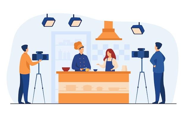 Szef kuchni przygotowuje jedzenie w popularnym programie telewizyjnym na białym tle ilustracji wektorowych płaski. kreskówka ludzie gotują sałatkę owocową na aparat.